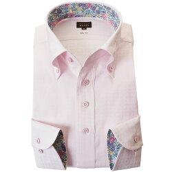 国産長袖綿100%ドレスシャツ スリムフィット ボタンダウン 胸ポケット無 ライトピンク ジャガード織 雷文風格子柄 2002