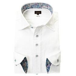 国産長袖ドレスシャツ 綿100% スリムフィット ワイドカラー ホワイト ジャガード織柄 数字 ナンバー 胸ポケット有
