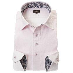 国産長袖綿100%ドレスシャツ ワイドカラー スリムフィット ピンク ジャガード織 花柄 花壇 フラワーガーデン 胸ポケット有