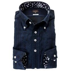 国産長袖綿100%ドレスシャツ スリムフィット ボタンダウン 濃紺 ネイビー ジャガード織 デザインストライプ 花柄 胸ポケット有