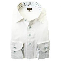 国産長袖ドレスシャツ スリムフィット 綿100% ワイドカラー ホワイト 白 ジャガード織 蔦柄 花 ストライプ 胸ポケット有
