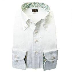 国産長袖綿100%ドレスシャツ スリムフィット ボタンダウン ホワイト 白 ジャガード織 花柄 花壇 フラワーガーデン 胸ポケット有
