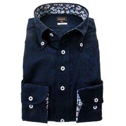 国産長袖綿100%ドレスシャツ スリムフィット ボタンダウン ネイビー 紺 ジャガード織 花柄 花壇 フラワーガーデン 胸ポケット有