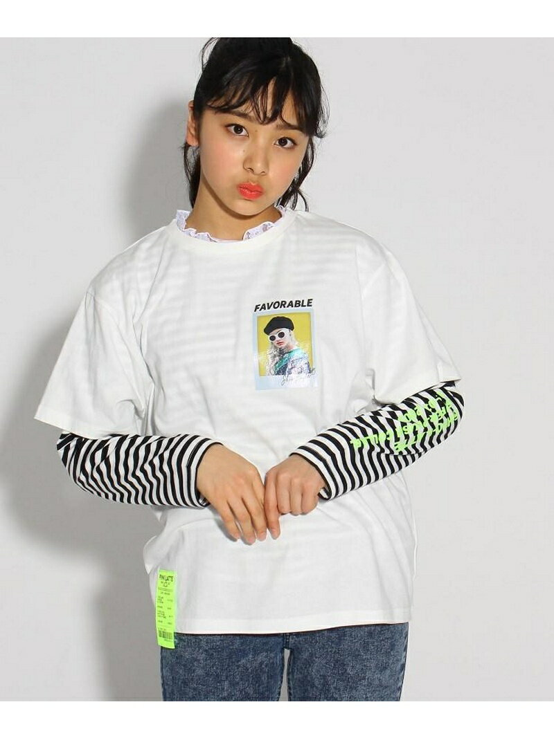 PINK-latte ★ニコラ掲載★シオリコラボ 転写プリント×レース TシャツSET ピンク ラテ カットソー【送料無料】