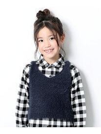 devirock 子供服 キッズ シャギーキャミソール 女の子 ベビー トップス ノースリーブ 韓国子供服 デビロック ニット ノースリーブニット/ベスト ネイビー ベージュ