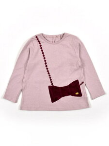 SLAP SLIP リボン ポシェット パッチ チャーム付き 長袖 Tシャツ (80cm~130cm) ベベ オンライン ストア カットソー Tシャツ ピンク グレー