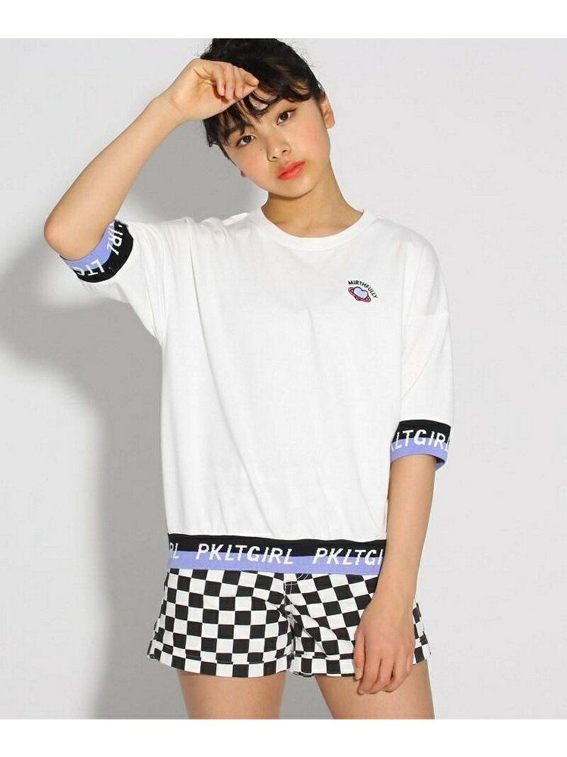 PINK-latte 袖裾ロゴ5分袖プルオーバー ピンク ラテ カットソー