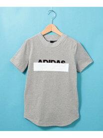 HusHusH 【110-160cm】adidasラインロゴTシャツ(一部店舗・WEB限定) ハッシュアッシュ カットソー Tシャツ グレー ブラック