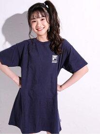 ZIDDY 【 FILA * ZIDDY 】【ニコ☆プチ掲載】ロゴライン ビッグTシャツ ワンピース(130~160cm) ベベ オンライン ストア ワンピース シャツワンピース ネイビー ピンク