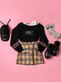 ZIDDY 【店舗限定別注】チェック ジップ スカートパンツ(130~160cm) ベベ オンライン ストア パンツ/ジーンズ ショートパンツ ベージュ パープル