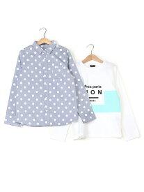 【SALE/60%OFF】ドットシャツ+ロゴプリントSET ベベ オンライン ストア カットソー【RBA_S】【RBA_E】