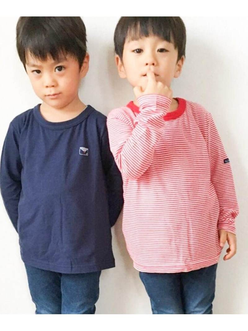 HusHusH(Kids) 【150cmまで】長袖Tシャツ2枚SET(ボーダー×無地) ハッシュアッシュ カットソー