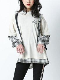 【SALE/60%OFF】ZIDDY チェック レイヤード風 フード付き Tシャツ(130cm~160cm) ベベ オンライン ストア カットソー Tシャツ ベージュ オレンジ【RBA_E】