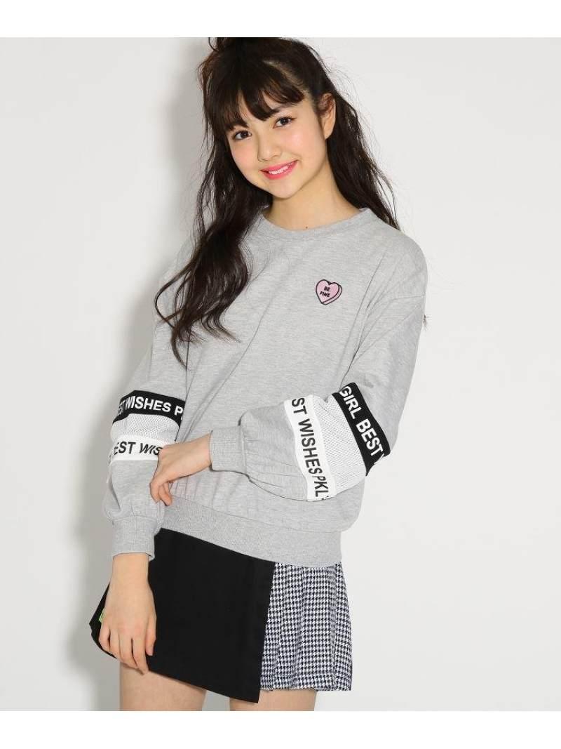 PINK-latte 袖メッシュライン裏毛 トップス ピンク ラテ カットソー