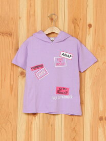 【SALE/41%OFF】ANAP ANAPKIDSプリントフードチュニックトップス アナップ カットソー キッズカットソー パープル ホワイト【RBA_E】