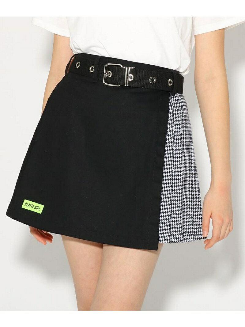 PINK-latte ★ニコラ掲載★ベルト付台形ZIP スカート ピンク ラテ スカート