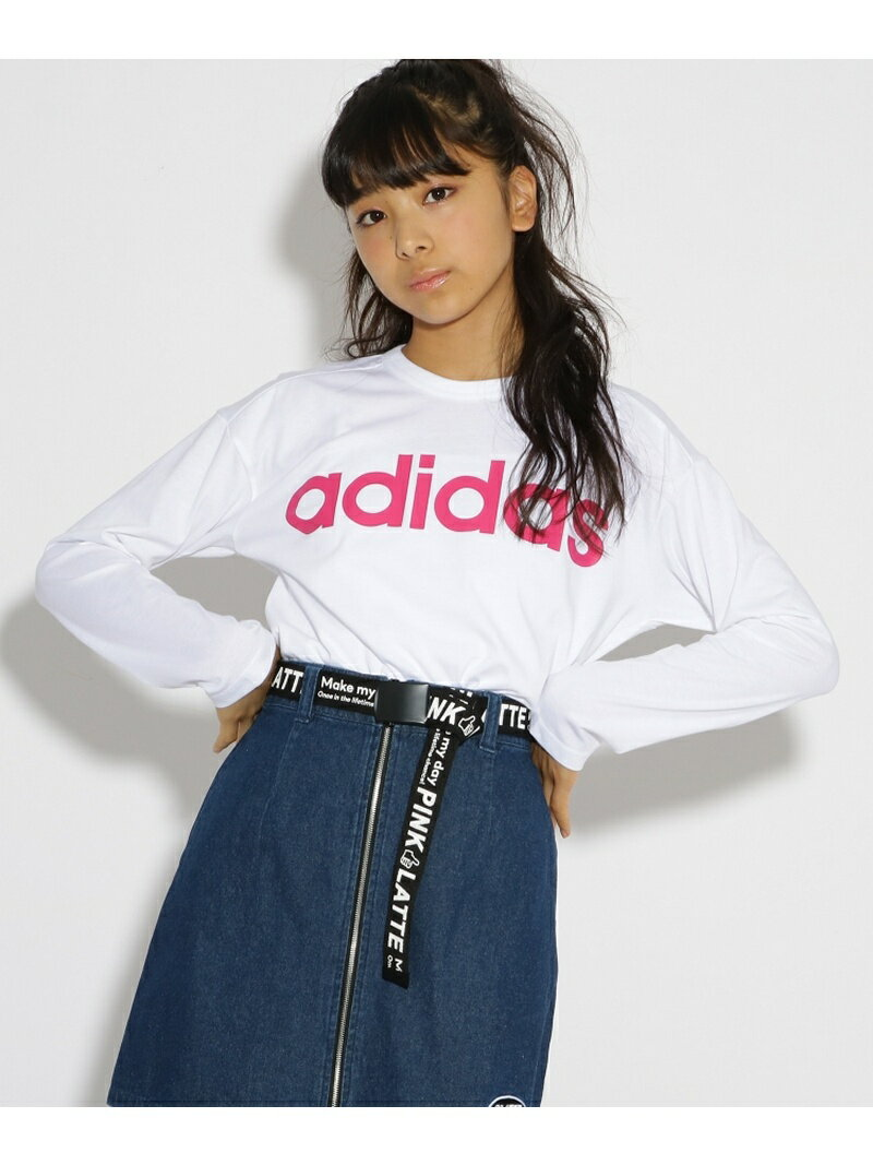 【SALE/20%OFF】PINK-latte adidas ロゴ長袖Tシャツ ピンク ラテ カットソー【RBA_S】【RBA_E】