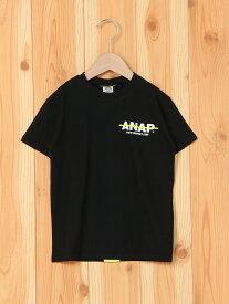 【SALE/25%OFF】ANAP ANAPKIDSBACKネオンテープ付Tシャツ アナップ カットソー キッズカットソー ブラック ホワイト【RBA_E】