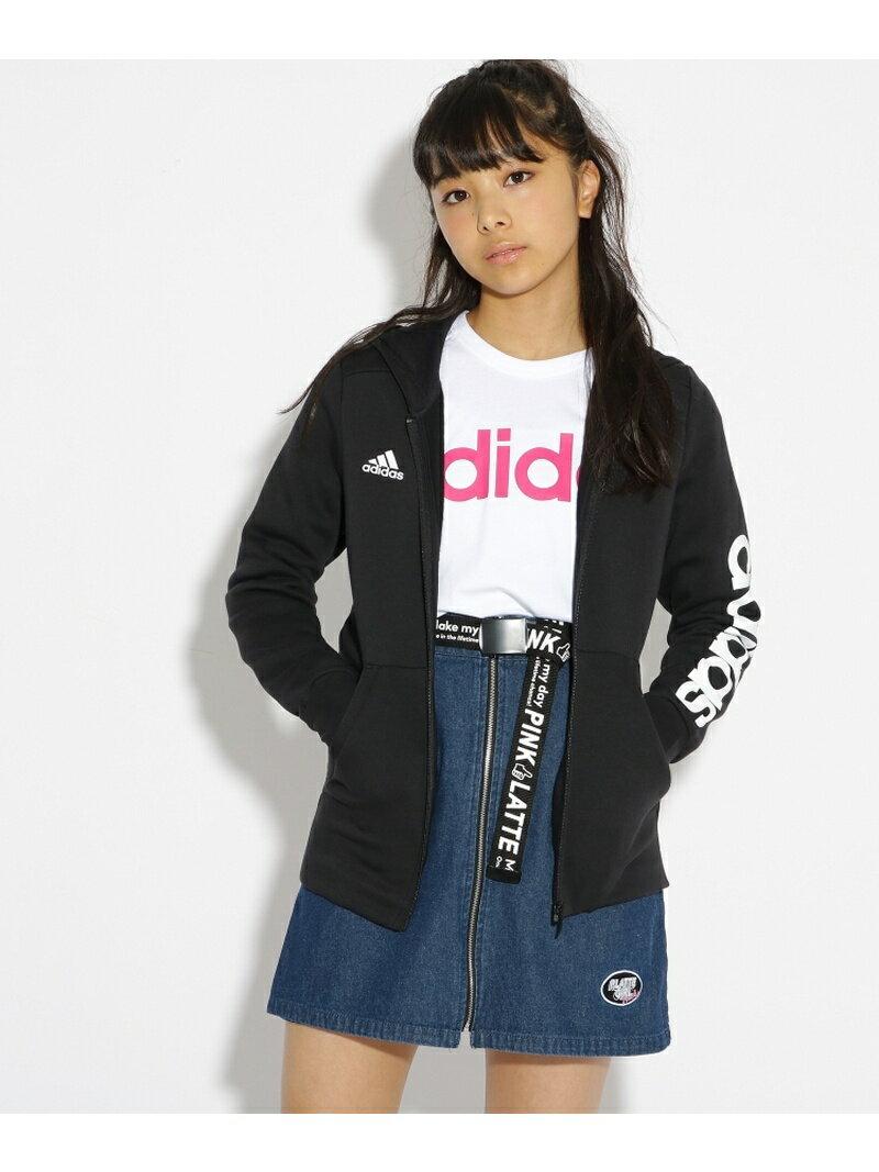PINK-latte adidas 袖ロゴ裏起毛ZIPパーカー ピンク ラテ カットソー【送料無料】