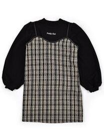 【SALE/53%OFF】ZIDDY チェック柄 ツイード ワンピース + ボリュームスリーブ Tシャツ 2点セット(130~160cm) ベベ オンライン ストア ワンピース シャツワンピース ブラック ブラウン【RBA_E】