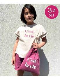 【SALE/50%OFF】ikka 【キッズ】[速乾] 巾着バッグ入り フリルT&ショートパンツセット(120~160cm) イッカ その他 福袋 グリーン ピンク【RBA_E】