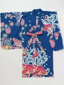 紅型風プリントキッズ浴衣110cm チャイハネ ビジネス/フォーマル【RBA_S】