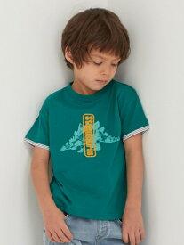 UNITED ARROWS green label relaxing 〔吸水速乾〕恐竜プリントソデボーダーTシャツ ユナイテッドアローズ グリーンレーベルリラクシング カットソー