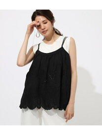 【SALE/50%OFF】AZUL by moussy COTTONLASECAMISOLETOPS アズールバイマウジー カットソー キャミソール ブラック ホワイト