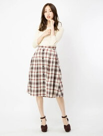 【SALE/58%OFF】BE RADIANCE オリジナルチェックフレアスカート ビーラディエンス スカート スカートその他 ホワイト ブラウン ネイビー【送料無料】