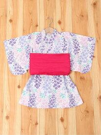 【SALE/50%OFF】petit main 藤の花浴衣 ナルミヤオンライン ビジネス/フォーマル 着物/浴衣 ホワイト パープル
