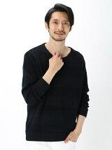 Men's ハニカムボーダー 長袖プルオーバー