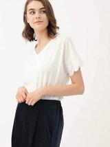 袖刺繍Vネックプルオーバー