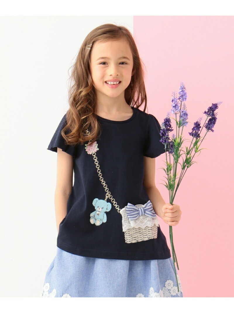any FAM KIDS 【SCHOOL】かごバッグプリント 40/2天竺 Tシャツ エニィファム カットソー