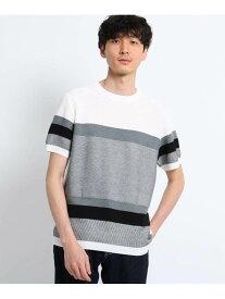 【SALE/40%OFF】TAKEO KIKUCHI パネルボーダーニットTシャツ タケオキクチ カットソー Tシャツ ホワイト ベージュ ブルー ネイビー【送料無料】