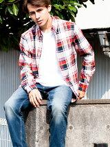チェックシャツ/レッド