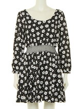 FLOWER BLACK CROSS ONE-PIECE