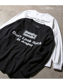 ADAM ET ROPE' 【oasis for ADAM ET ROPE'】SONG LYRICS T-shirt(長袖) アダムエロペ カットソー カットソーその他 ブラック ホワイト【送料無料】