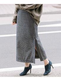 【SALE/70%OFF】Munich コットンシェニールチェックタイトスカート ミューニック スカート タイトスカート ブラック ホワイト ネイビー【送料無料】