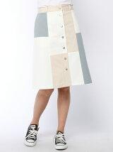 パッチワーク前ボタンスカート