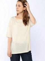 (W)ループロゴリヨセル5分袖ボックスTシャツ・カットソー