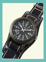 【国内正規品】crampオリジナルレザーベルト台座付き時計 オーバーサイズキャンパー カーキ