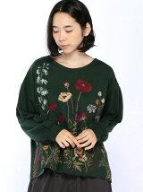 冬のお花刺しゅうボリュームスリーブカットソー