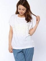 ローズ刺繍天竺Tシャツ