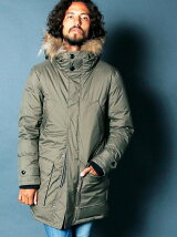 STRETCH NYLON MILITARY HOOD DOWN COAT