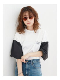 【SALE/54%OFF】Ungrid バイカラーロゴTee アングリッド カットソー カットソーその他 グレー レッド