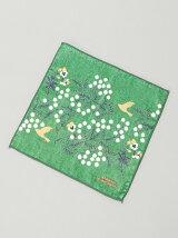 野花とパンジー刺繍プリントハンドタオル