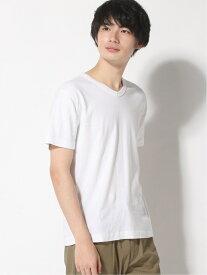 three dots Men's Cotton Knits Keith / キース Vネック Tシャツ スリードッツ カットソー Tシャツ ホワイト【送料無料】
