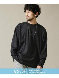 【SALE/10%OFF】nano・universe Anti SoakedヘビークルーネックワイドロングTシャツ ナノユニバース カットソー Tシャツ ブラック ホワイト ベージュ【送料無料】