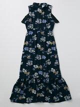 フラワープリントロングドレス