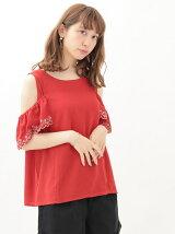 袖刺繍ノースリーブプルオーバー